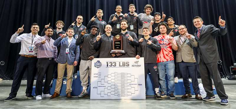 COURTESY PHOTO: CCC - Clackamas Community College's 2020 wrestling team are national champions. For six of the past 10 years, the college's team has either won the title or been runner up.