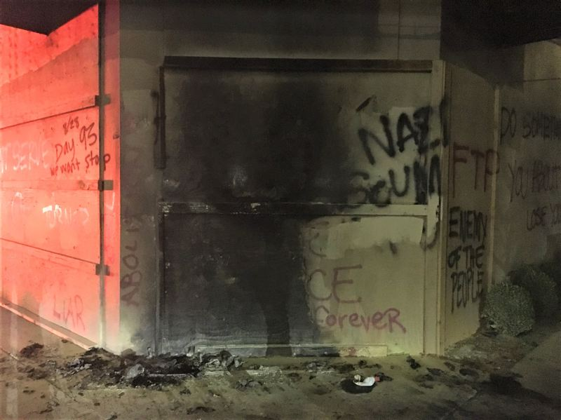 COURTESY PHOTO: PORTLAND POLICE BUREAU - A fire was set on the exterior of the Portland Police Association union building on Lombard Street just after midnight Saturday, Aug. 29.