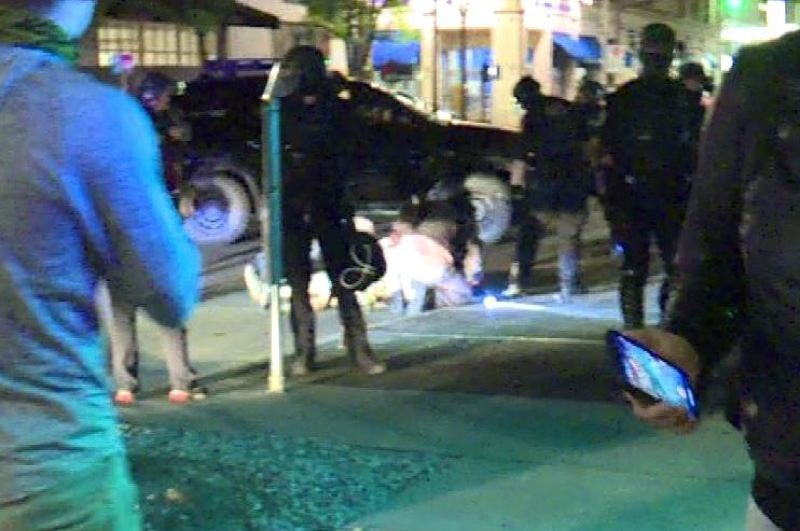 COURTESY PHOTO: KOIN 6 NEWS - The scene of the shooting in downtown Portland.