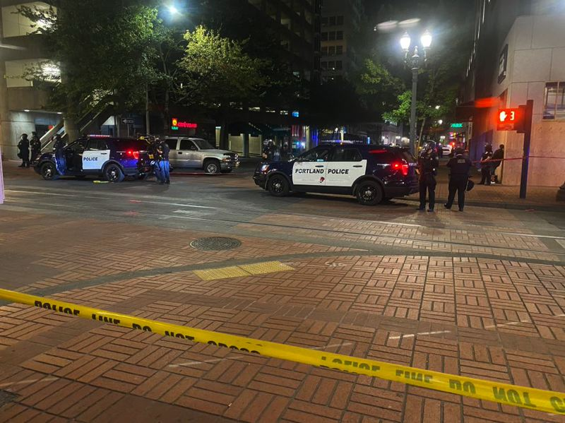COURTESY PHOTO: KOIN 6 NEWS - The scene of the deadly shooting in downtown Portland.