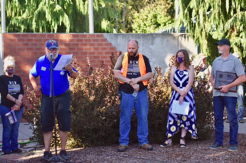 PMG PHOTO: EMILY LINDSTRAND - During an event on Saturday, Aug. 29, leaders from Estacada Community Watch, the Estacada Support Our Troops Foundation and the city of Estacada thanked first responders for their service.