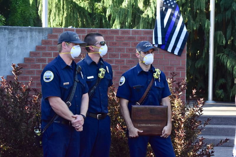 PMG PHOTO: EMILY LINDSTRAND - Members of Clackamas Fire were honored for their service during an event hosted by Estacada Community Watch on Saturday, Aug. 29.
