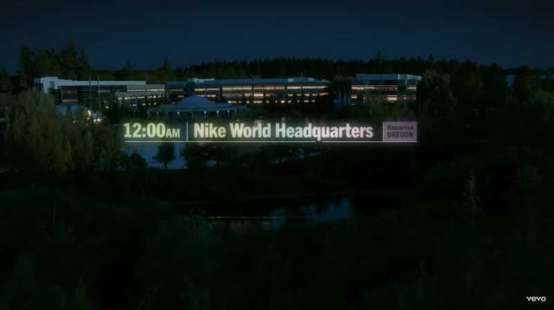 SCREENSHOT: LAUGH NOW CRY LATER MUSIC VIDEO/YOUTUBE - Drakes Laugh Now Cry Later begins with an aerial view of the Nike World Headquarters with a midnight timestamp. Nike says the rapper filmed the video a few weeks ago.