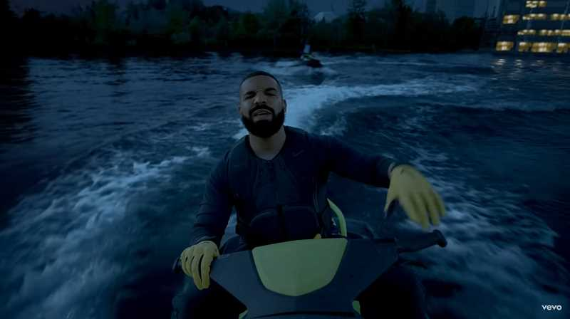 SCREENSHOT: LAUGH NOW CRY LATER MUSIC VIDEO/YOUTUBE - Alongside rapper Lil Durk, Drake rides jet skis in a lake located at Nike World Headquarters in Beaverton.