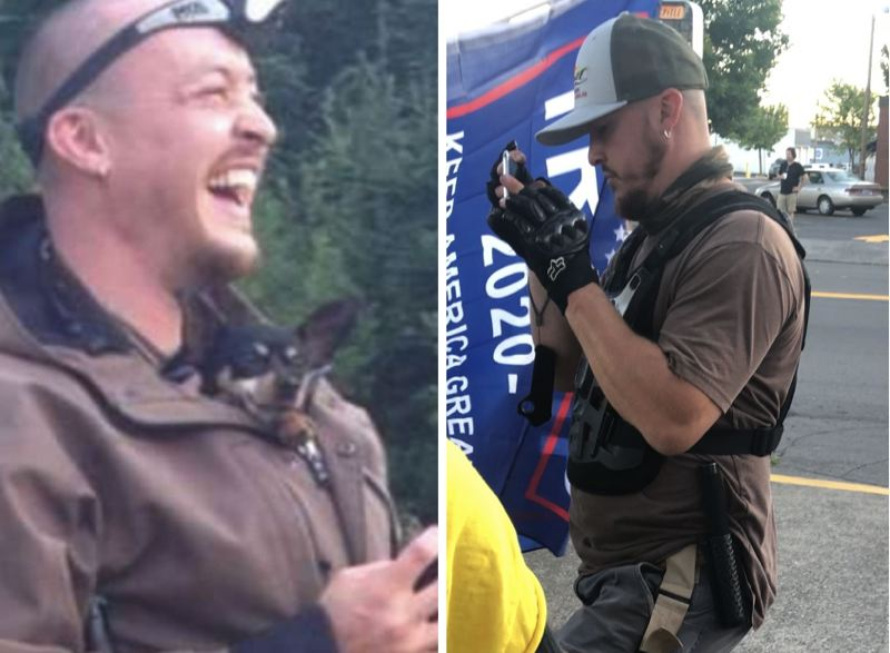 PHOTO - Aaron Danielson, who went by the name Jay, is shown here in an undated photo, left, and at a pro-police rally in Camas on Friday, Aug. 28.