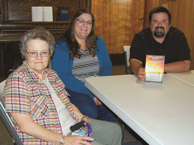 RAMONA MCCALLISTER - Pictured from front: LaVerne Cater, Shera Cookston and Pastor Chris Cookston of Prineville Community Church. The GriefShare series will be held for 13 weeks at Prineville Community Church.