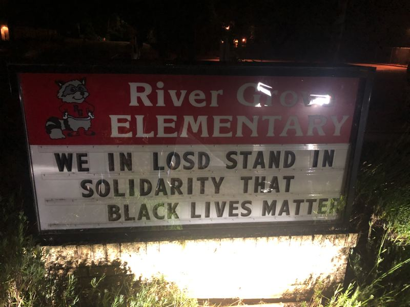 COURTESY PHOTO - The message on the readerboard before it was damaged.