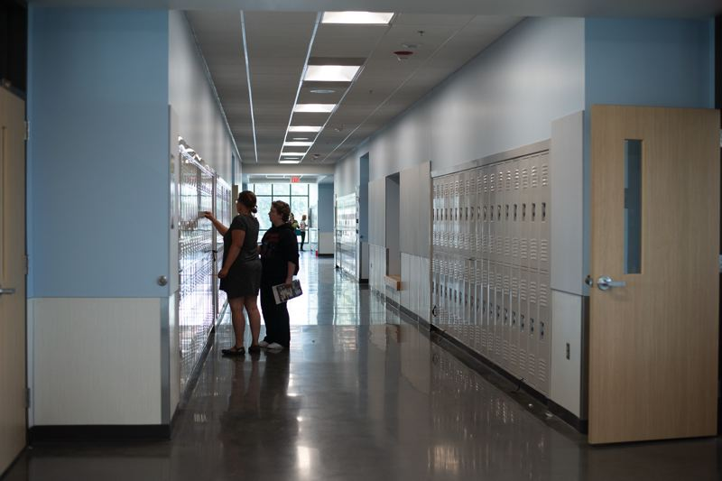 PMG PHOTO: ANNA DEL SAVIO - The halls of St. Helens Middle School were mostly quiet in this 2019 scene, and they will be deserted even once the 2020-21 school year starts up as students learn remotely due to the ongoing coronavirus pandemic.