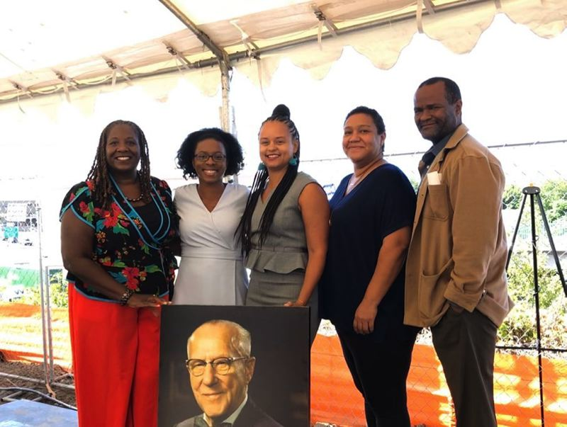 COURTESY: OWCB - Afton Walsh, a managing partner of OWCB, said the jobsite at the Meyer Memorial Trust headquarters was a welcoming place to visit because of the many women and people of color involved in the project. At far right is Maurice Rahming, fellow managing partner of OWCB.