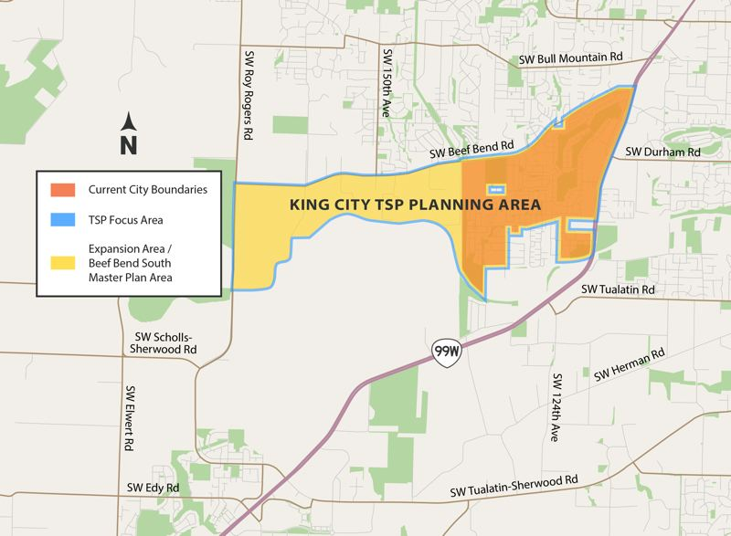 COURTESY MAP: CITY OF KING CITY - A map shows, shaded in orange, the current city limits of King City, and shaded in yellow, the Beef Bend South area (now within the urban growth boundary) that the city hopes to annex and develop.