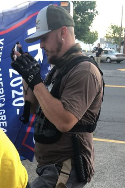 CONTRIBUTED - Aaron 'Jay' Danielson at a political protest in Camas, Washington.