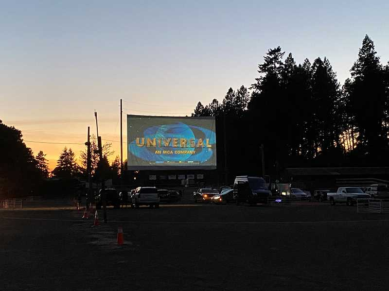 PMG PHOTO: KRISTEN WOHLERS - As the sun began to set Thursday, Sept. 3, 'E.T. the Extra-Terrestrial' is about to begin at Clackamas County Fairgrounds' drive-in theater.