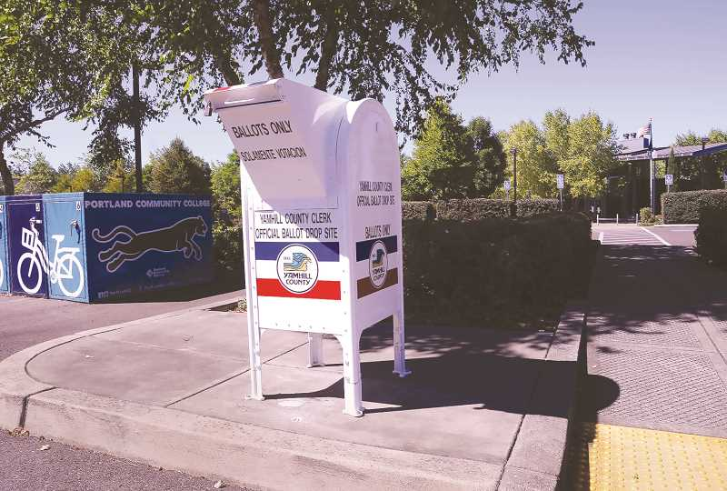 PMG PHOTO: GARY ALLEN - New and improved ballot drop boxes are being installed at locations throughout the county, including at PCC's Newberg Center.