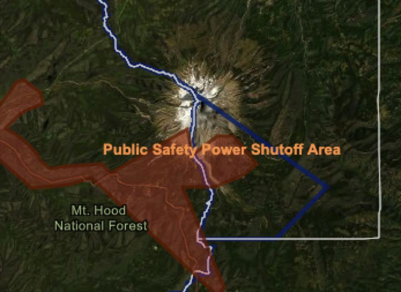 COURTESY PGE - A screenshot of the interactive map released by PGE on Sunday.