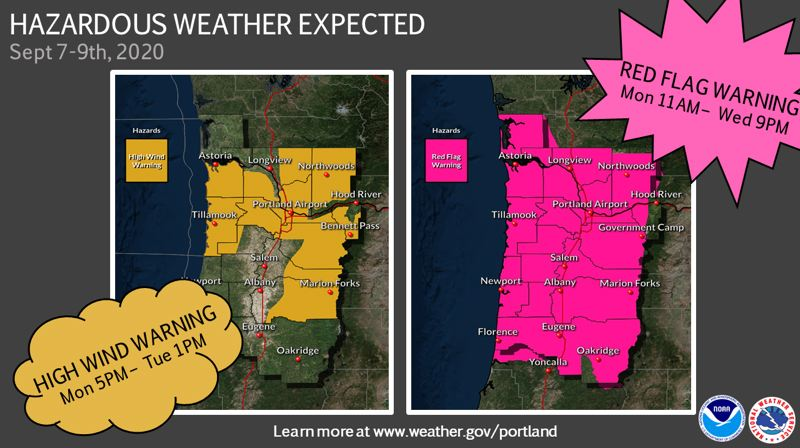 (Image is Clickable Link) COURTESY ILLUSTRATION - The National Weather Service warns that high winds will affect the Columbia River Gorge, the Willamette Valley and parts of the Oregon Coast.