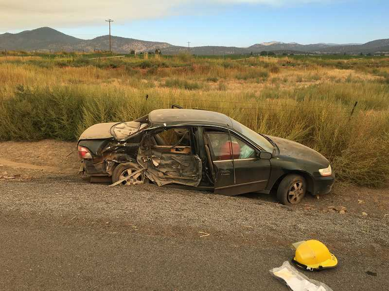 PHOTO COURTESY OF CROOK COUNTY SHERIFF'S OFFICE - Collision significantly damaged a car driven by a Prineville teen.