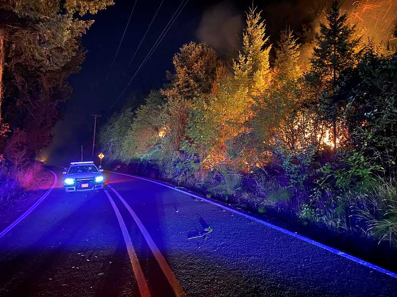 COURTESY PHOTO: CCSO - The Wilhoit Road fire continues to be active in Molalla.