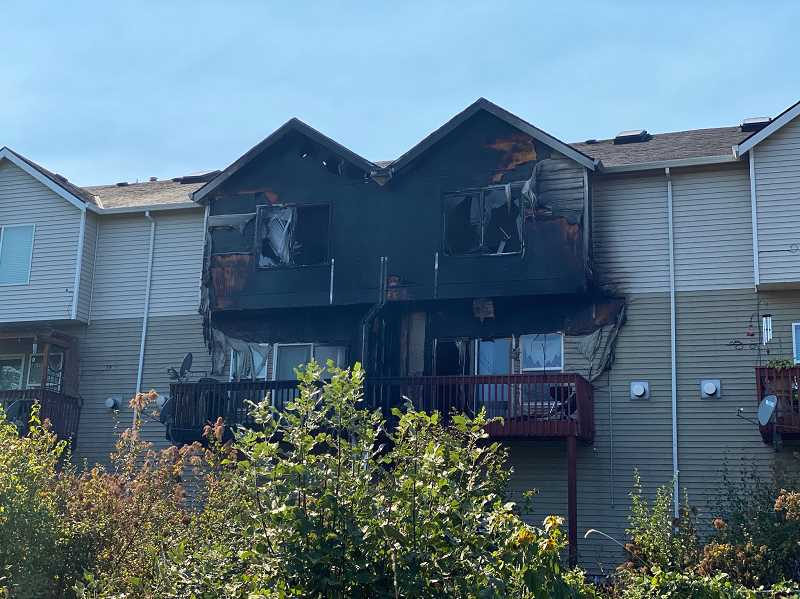 COURTESY PHOTO: TUALATIN VALLEY FIRE & RESCUE - The units involved in a fire near a townhouse community on Buffalo Place, just south of North Dakota Street in Tigard.