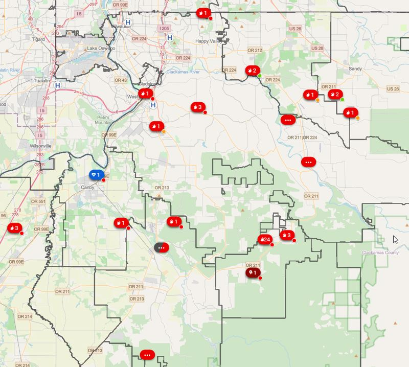 PHOTO COURTESY OF CLACKAMAS COUNTY - Several wildfires are currently burning across Clackamas County, forcing dozens of evacuations and response from local fire districts from Tualatin Valley to Gresham and Portland to Molalla.