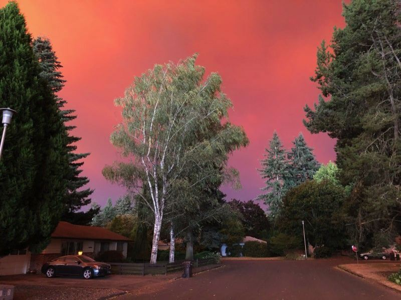 COURTESY PHOTO: CHRISSY CURRAN - The sky over Canby grows dangerously red Tuesday afternoon.