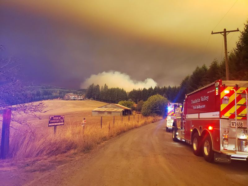 COURTESY PHOTO: TUALATIN VALLEY FIRE & RESCUE - Firefighters respond to a wildfire in the Midway area west of Sherwood on Tuesday evening, Sept. 8.