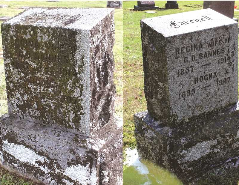 COURTESY PHOTO: CHLC - The Sept. 26 marker cleanup will remove moss and grime from gravestones at Zion Memorial Cemetery.
