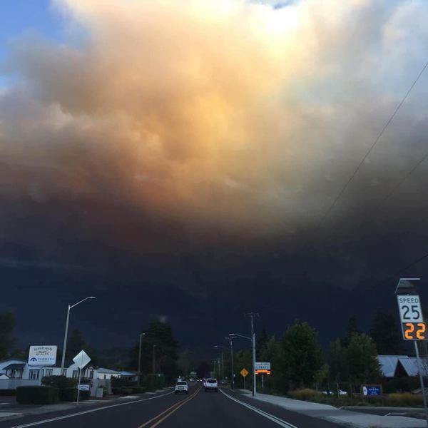 COURTESY PHOTO - Smoke from multiple fires in the area could be seen on Wade Street in Estacada earlier this week. Many community members have evacuated because of the fires.
