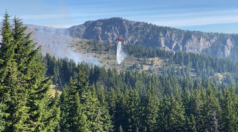 COURTESY PHOTO: MT. HOOD MEADOWS - Fire crews hope to have completely extinguished a fire that ignited in Heather Canyon at Mt. Hood Meadows on Monday, Sept. 7, by tonight or tomorrow.