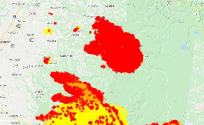 CALTOPO.COM - Pictured is satellite imagery of the Clackamas County fires as of 10 a.m. Wednesday, Sept. 9.