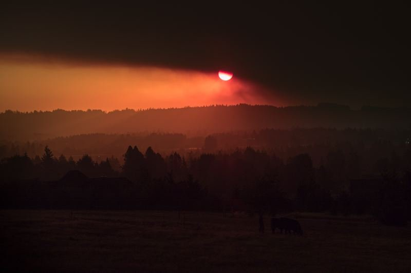 PMG PHOTO: JAIME VALDEZ - Red light spreads across the hills at sunrise Wednesday, Sept. 9, near Wilsonville. Black smoke clouds from many wildfires burning in Oregon and Washington partially obscure the sun.