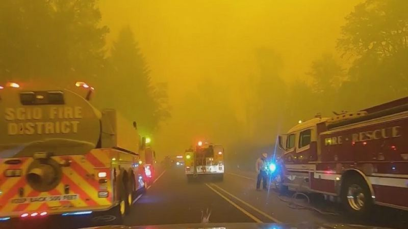 COURTESY PHOTO: KOIN 6 NEWS - Wildfires are raging across the state of Oregon.