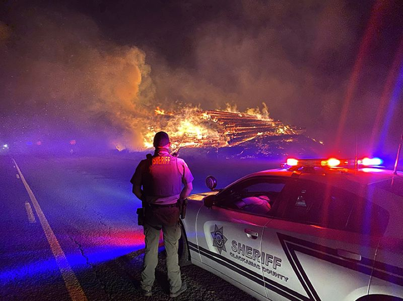 COURTESY PHOTO: CLACKAMAS COUNTY SHERIFFS OFFICE - A lumber yard burned in Clackamas County as wildfires raged across the state.