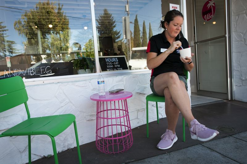 PMG PHOTO: JAIME VALDEZ - Jen Walsh, who works just up the street at Pacific University, says she stops at the Island Vibe smoothie shop almost every week.