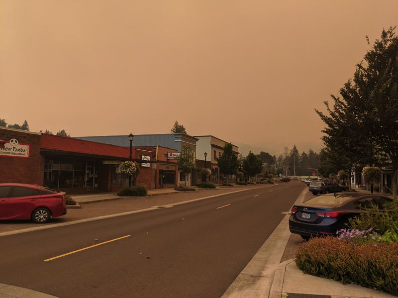 PMG PHOTO: EMILY LINDSTRAND - Skies over downtown Estacada were hazy on Wednesday, Sept. 9.