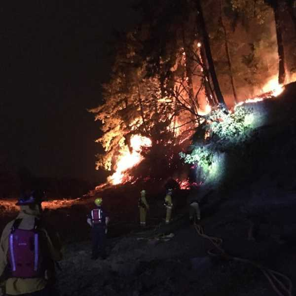 COURTESY PHOTO: CLACKAMAS FIRE DISTRICT #1 - A fire on Elk Rock Island was quickly contained Wednesday night, and no one was evacuated.