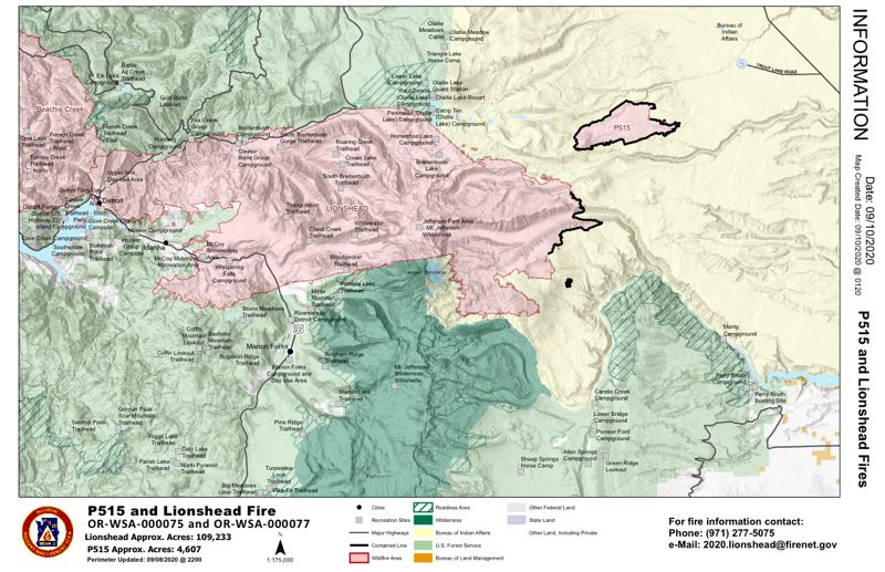 COURTESY IMAGE - A map of the P-515 and Lionshead fires.