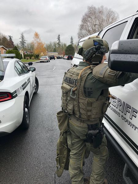 COURTESY PHOTO: CLACKAMAS COUNTY SHERIFF'S OFFICE - SWAT personnel at the standoff location where the suspect, Camilo Santiago-Santiago, was arrested on Friday, Nov. 15, after a shooting in Wilsonville.