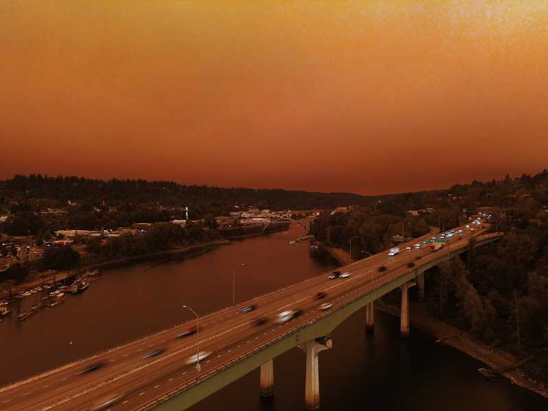 PMG PHOTO: ALVARO FONTAN - An ominous red sky over Interstate 205, looking toward Oregon City at around 5:30 p.m. Wednesday, Sept. 9.