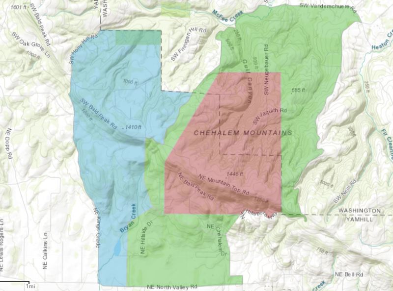 COURTESY MAP: TUALATIN VALLEY FIRE & RESCUE - As of 5 p.m., these are the evacuation zones for the Chehalem Mountain-Bald Peak Fire. In red, the Level 3 zone, from which residents have been evacuated and are not allowed to return yet. In green, the Level 2 zone, which had been under evacuation orders but residents are now being allowed to return. In blue, an area that had been considered Level 1, the lowest evacuation level, but is now not considered an area of concern.