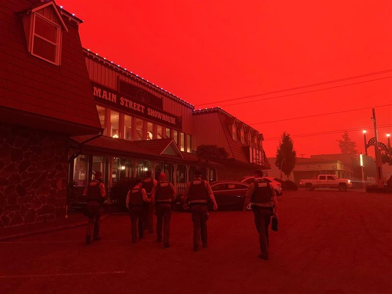 COURTESY PHOTO: CCSO - The skies were red in Molalla during the first week the wildfires burned in South Clackamas County.