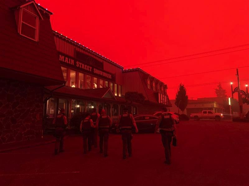 COURTESY PHOTO: CLACKAMAS COUNTY SHERIFF'S OFFICE - A sinister crimson sky over Clackamas County on Friday.