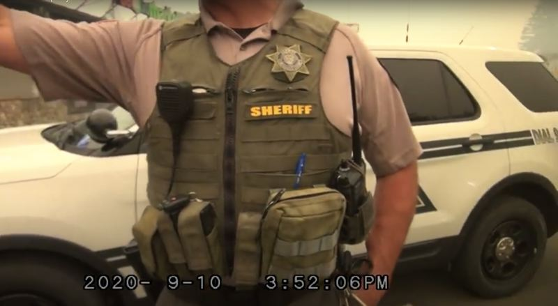 SCREENSHOT - A Clackamas County Sheriff's deputy spreads rumors of 'antifa' activity in Oregon's wildfires, in a video dated Sept. 10, 2020