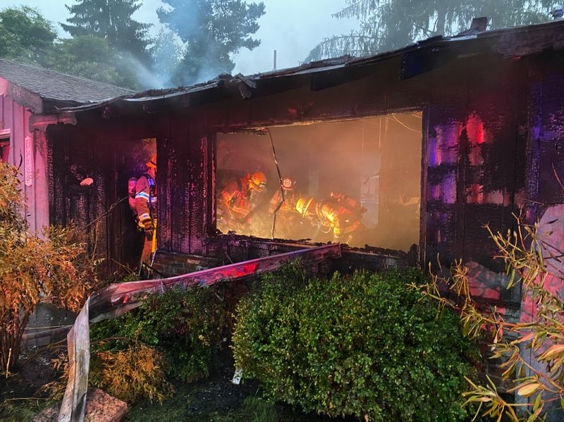 VIA TUALATIN VALLEY FIRE & RESCUE - A one-alarm house blaze ended with the tragic death of a pet dog.