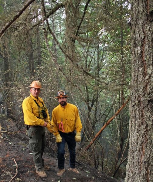 COURTESY PHOTO: FOREST GROVE FIRE AND RESCUE - Stimson Lumber Company foresters prepare to extinguish hot spots on the Powerline Fire near Hagg Lake.