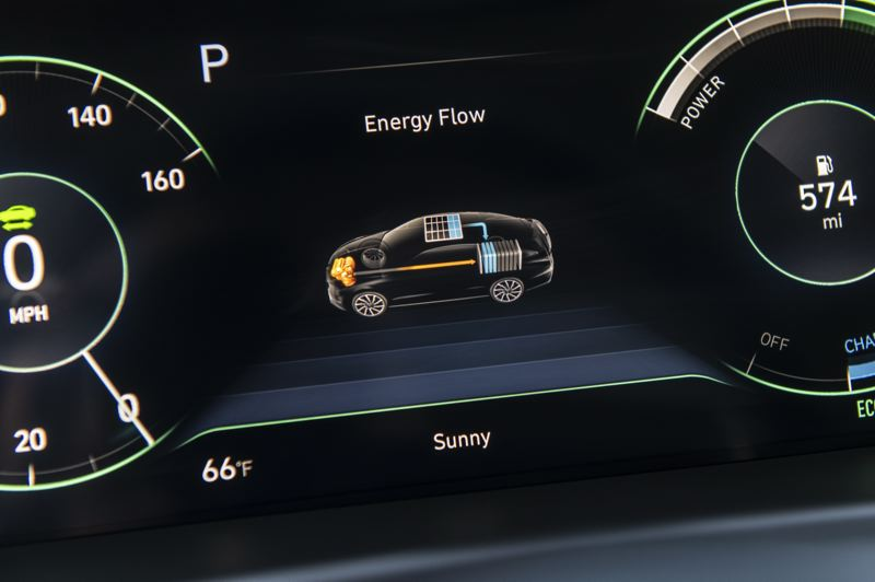 COURTESY HYUNDAI - The energy flow from the solar roof to the battery pack to the hybrid powerplant is displayed on the dash.