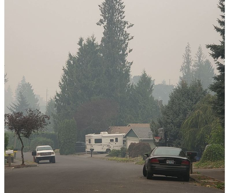 PMG PHOTO - Air quality is nearing hazardous levels in Sandy.
