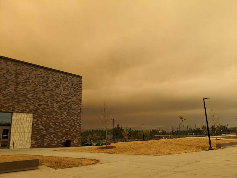 PMG PHOTO: COURTNEY VAUGHN - A smoke-filled sky blankets the air above Mountainside High School in Beaverton Wednesday, Sept. 9. Due to poor air quality, all Washington County facilities will remain closed.