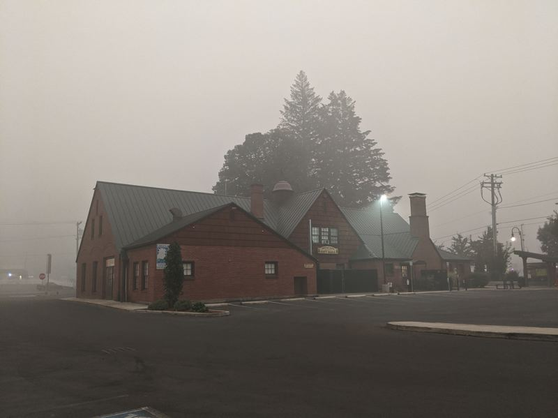 PMG PHOTO: EMILY LINDSTRAND - Estacada city hall is shown here on Saturday, Sept. 12, as multiple wildfires burn near the city.