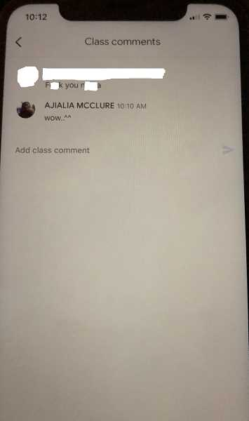 COURTESY PHOTO: PRECIOUS LOTT - Lake Oswego High School student A'jialia McClure was able to document the racial slur before it was taken down by the teacher.
