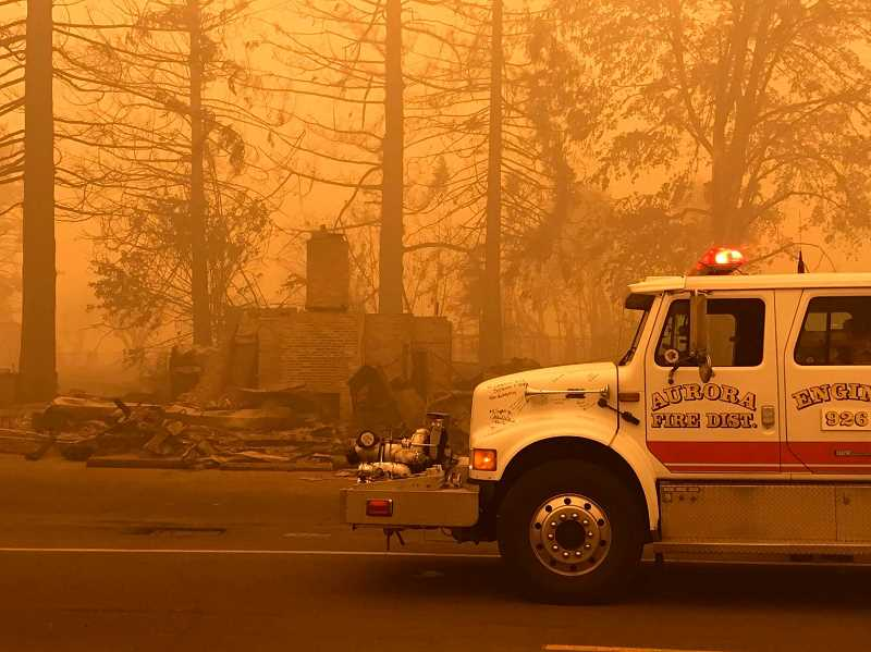 COURTESY PHOTO: AURORA FIRE - The new fire engine greets the Idanha/Detroit area amid devastation from fire.